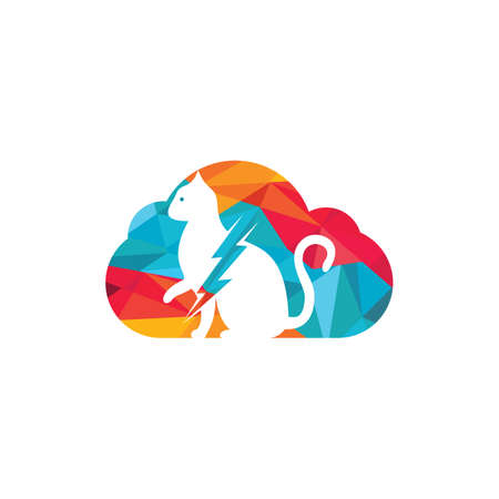 Flash cat design. Cat and thunderstorm with cloud icon.