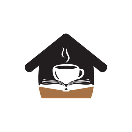 Coffee book with home shape  design. Tea Book Store Icon.