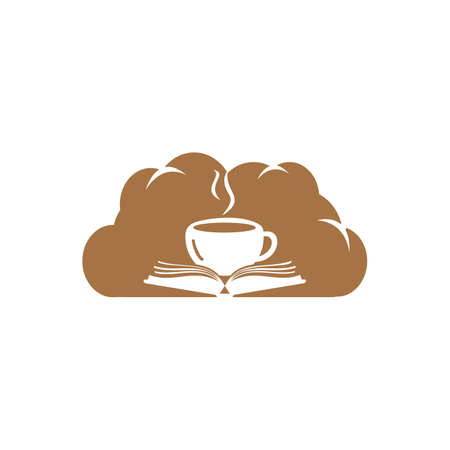 Coffee book with cloud shape design. Tea Book Store Icon.