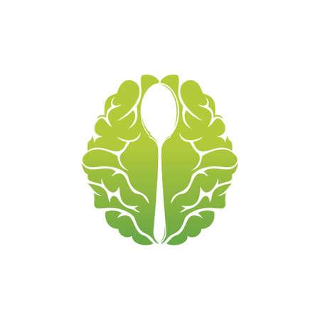 Brain Food vector logo design. Thing Food logo design template.