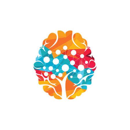 Brain technology vector logo design. Robotic Brain logo template.
