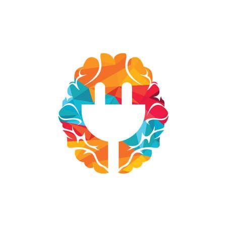 Brain and electric plug vector logo design. Innovation sign logo concept.