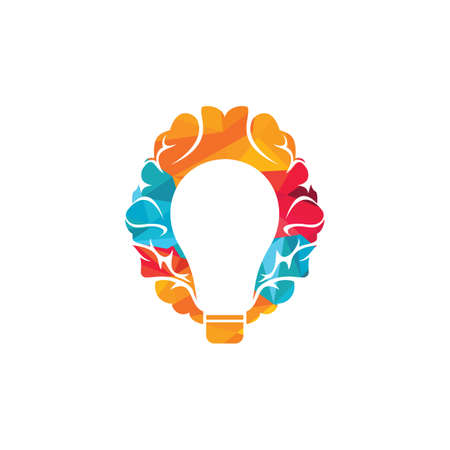 Bulb and brain logo design. Creative light bulb idea brain vector icon. Ilustracja