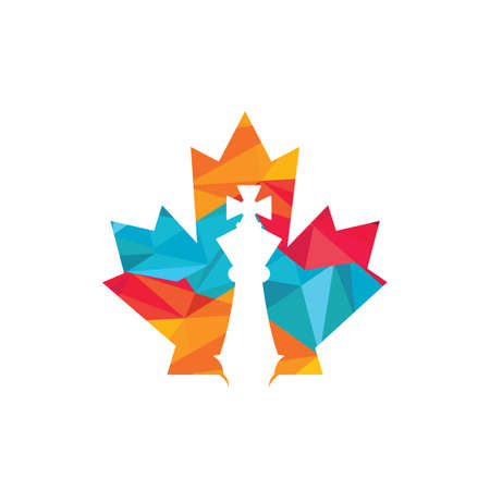 Canada chess vector logo design. Maple leaf with chess king icon logo.