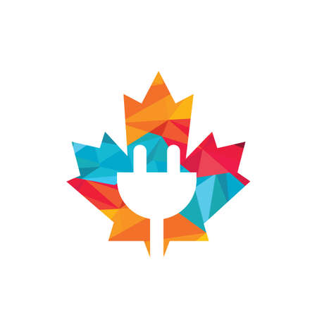 Maple Leaf with electrical power cord vector logo design. Canada electric logo concept.