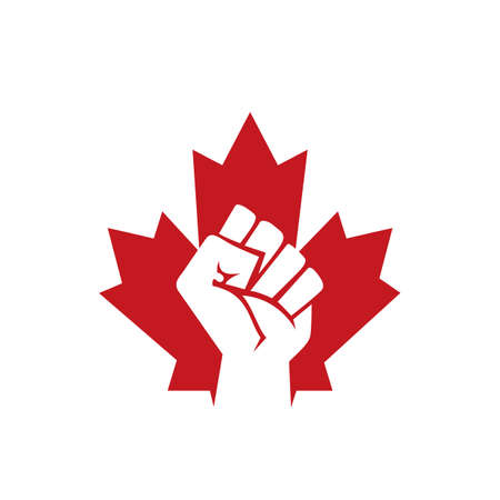 Canada revolution vector logo concept. Maple leaf and fist icon design. 일러스트