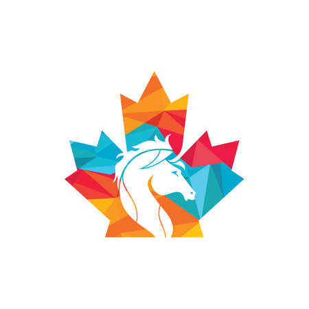 Canada horse logo vector design. Maple leaf horse vector icon design. 矢量图像