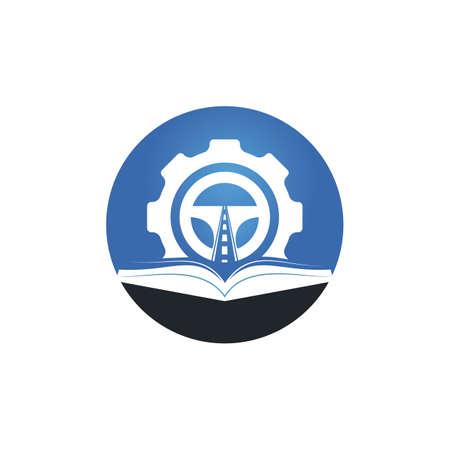 Driving school logo design. Steering wheel with Cog and book icon. Stock Illustratie