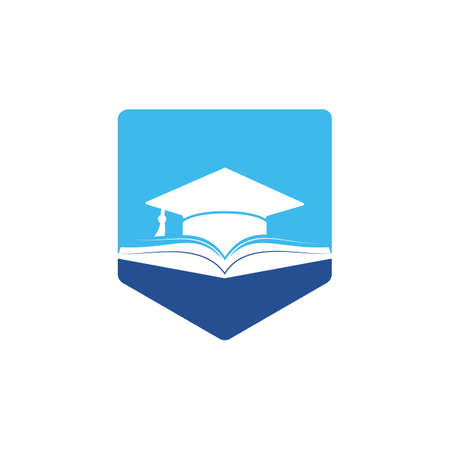 Graduation hat and book vector icon template. Education icon concept.