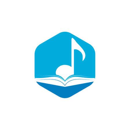 Music book vector logo design. Book and music note icon design.