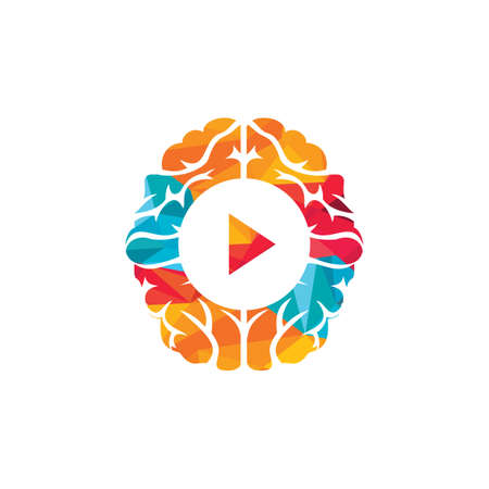 Brain media player vector logo design. Mind play logo template design.