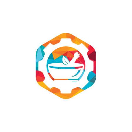 Gear pharmacy vector logo design. Mechanic health logo concept.