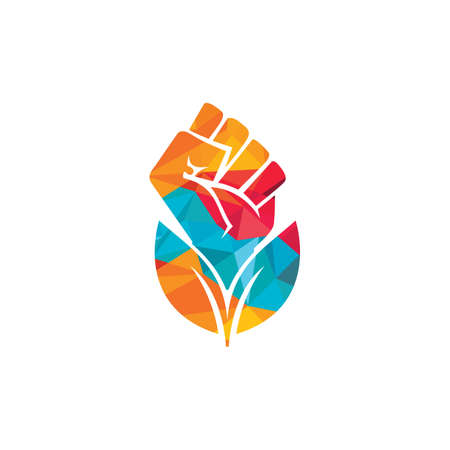 Power of nature vector logo design. Hand and eco symbol or icon. Unique protest and organic logotype design template.