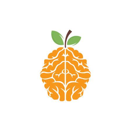 Orange brain vector logo design. Logo of a fruit style brain.