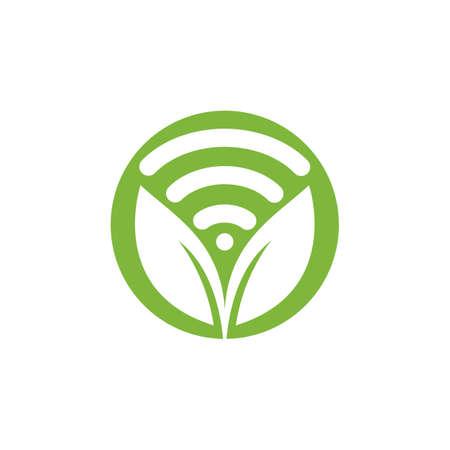Leaf nature wifi vector logo design. Ilustração