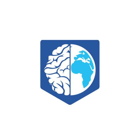 World brain vector logo template. Smart world logo symbol design.