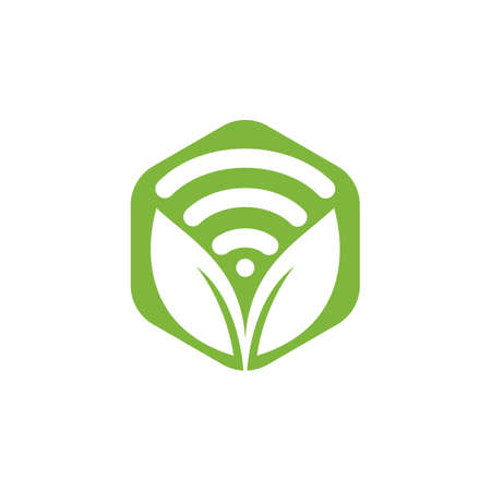 Leaf nature wifi vector logo design.