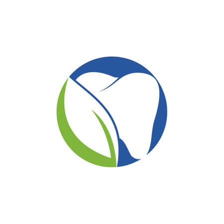 Nature Dental template design. Tooth and leaf icon .