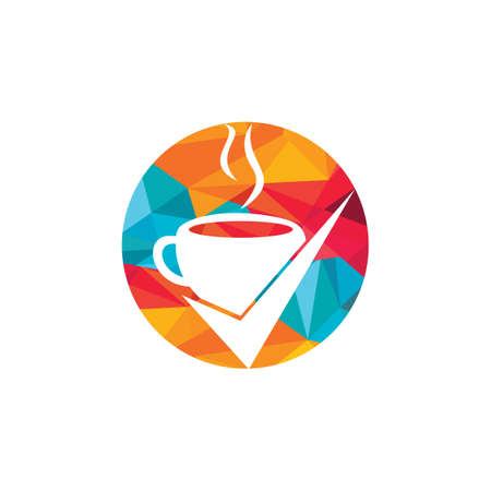 Coffee Check vector logo design. Coffee cup with a check mark.
