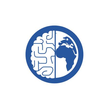 World brain vector icon template. Smart world icon symbol design.