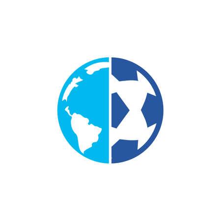 Soccer globe vector icon design template. Soccer planet icon template illustration. Vetores