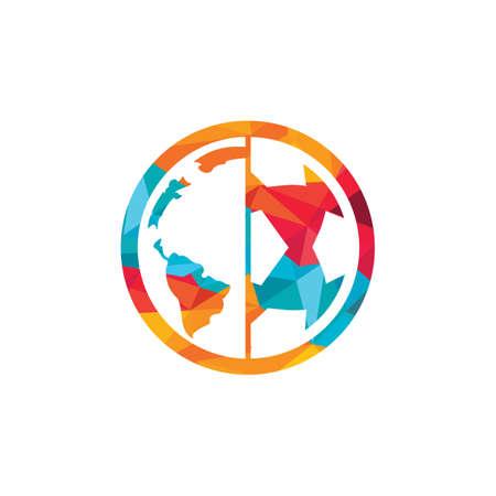 Soccer globe vector icon design template. Soccer planet icon template illustration. Ilustração