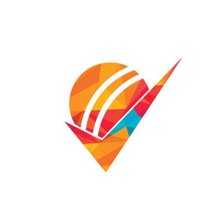 Check Cricket vector logo design. Cricket ball and tick icon logo.