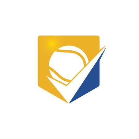 Check Tennis vector logo design. Tennis ball and tick icon logo.