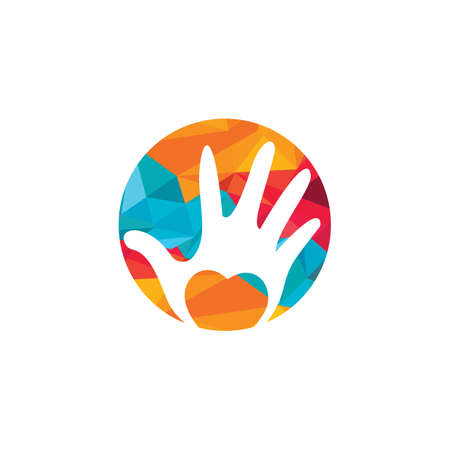 Abstract vector logo heart in a hand. Charity logo concept.