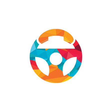 Drive call vector logo design. Steering wheel and phone symbol or icon.