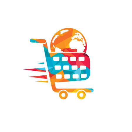 Globe shopping cart vector logo design. Online Shop logo designs concept. Logo