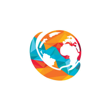 World hand logo. Save world logo design. Global care logo concept. Logó