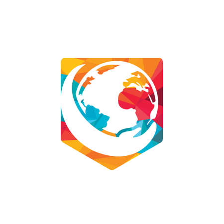 World hand logo. Save world logo design. Global care logo concept.