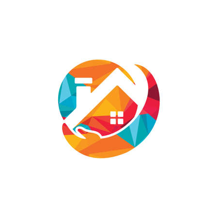 Home care vector logo design. Property care, Home and Real estate logo template. 矢量图像