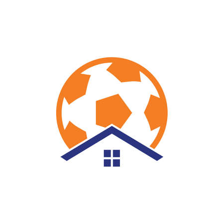 Soccer home vector logo design. Soccer place logo concept.