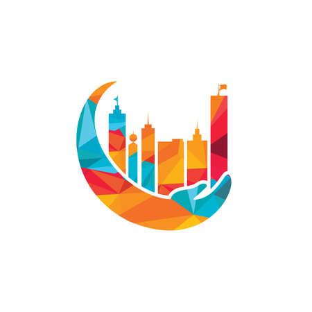 City care vector logo design. Tower Care logo template.