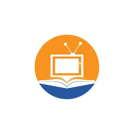 Book TV vector logo template design. Unique bookstore, library and media logotype design template.
