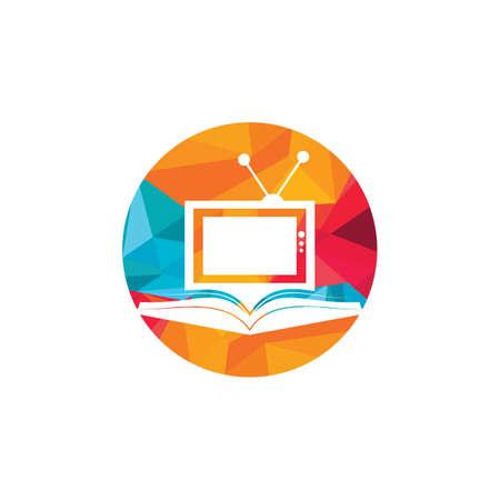 Book TV vector logo template design. Unique bookstore, library and media logotype design template. Logo
