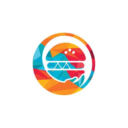 Burger care vector logo design. Vector burger and hand logo combination.