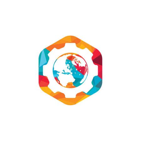 Gear global vector logo design. Gear planet icon logo design element. Logó