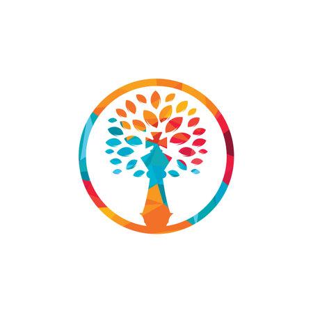 Chess tree vector logo design. Nature green strategy logo concept. Logo