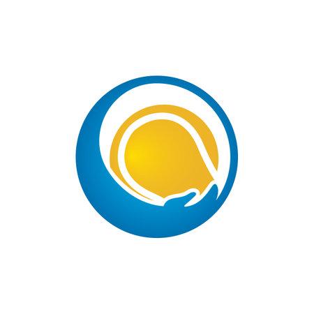 Tennis care vector logo design. Tennis insurance logo design concept.