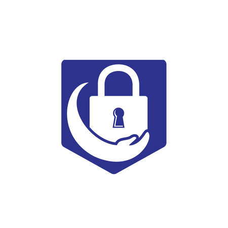 Security care vector logo design template. Vector illustration of hand logo and lock icon.