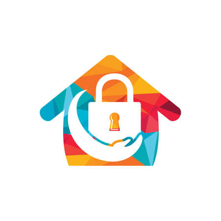 Security care vector logo design template. Vector illustration of hand logo and lock with home icon.