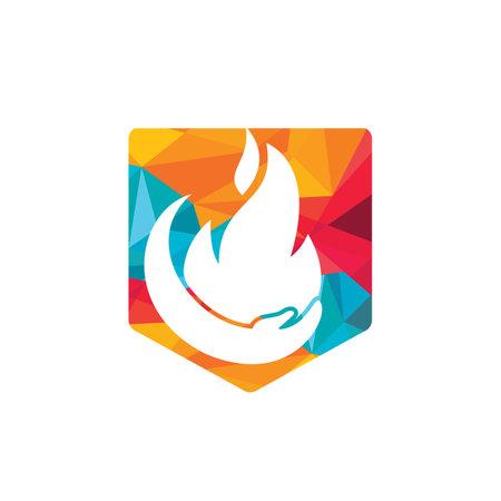 Fire care vector logo design concept. Hand and fire icon logo design.