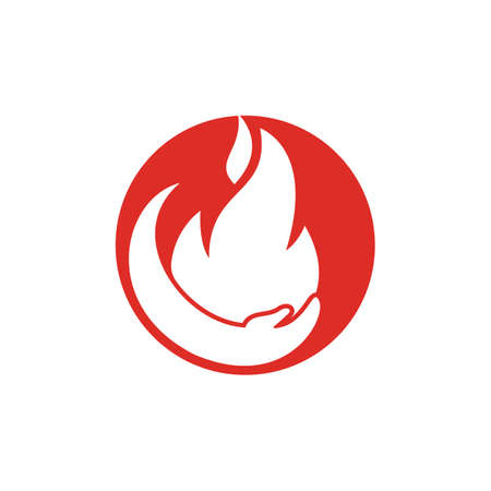 Fire care vector logo design concept. Hand and fire icon logo design. Logos
