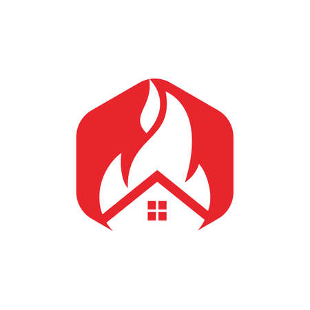 House fire vector logo design template. Preventing fire or fire alarm logo concept.