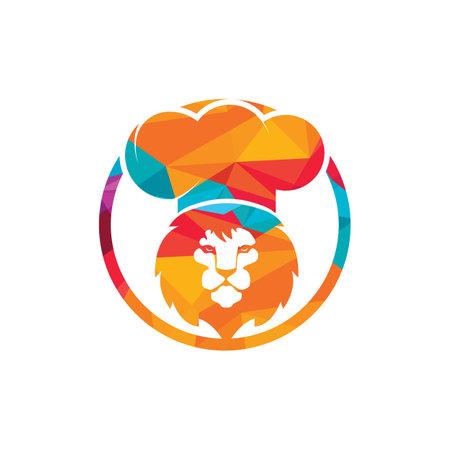 Chef lion vector logo design template. Food restaurant logo concept.