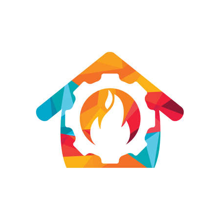 Home Restorations vector logo design. Gear and fire with home icon vector design.