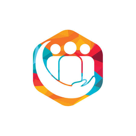 People or family care vector logo design. Hand and people icon design.
